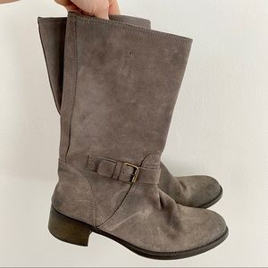 J. Crew Ryder Gray Suede Leather Boots w/ Buckle